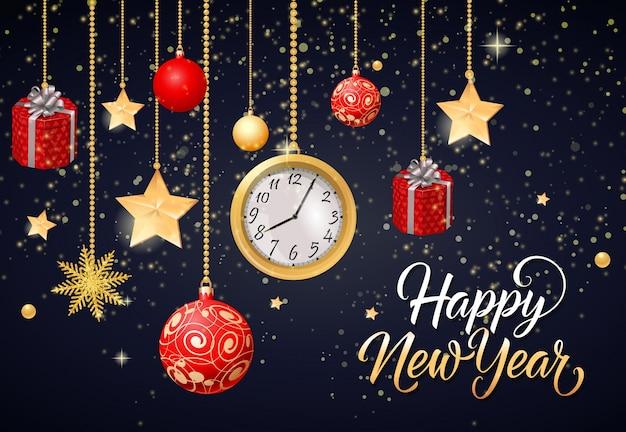 Szczęśliwego nowego roku kaligraficzna napis