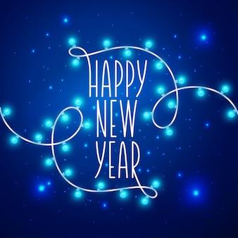 Szczęśliwego nowego roku karta napis wianek. ilustracji wektorowych.