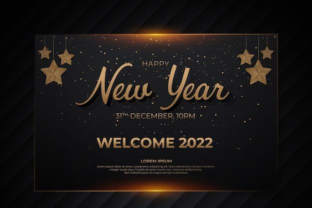 Szczęśliwego nowego roku karta z czarnym złotym stylem backround