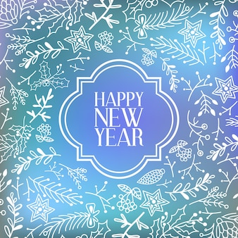 Szczęśliwego nowego roku karta z napisem w eleganckiej ramie i ilustracji wektorowych naturalnych gałęzi drzew