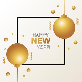 Szczęśliwego nowego roku karta ze złotymi kulkami i ilustracją plakatu konfetti