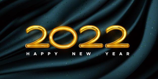 Szczęśliwego nowego roku karta ze złotymi numerami balonów