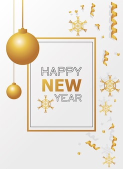 Szczęśliwego nowego roku karta ze złotymi płatkami śniegu i wiszącą piłką ilustracją
