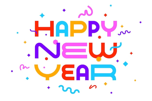 Szczęśliwego nowego roku. kartkę z życzeniami z napisem