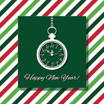 Szczęśliwego nowego roku kartkę z życzeniami z zegarkiem.