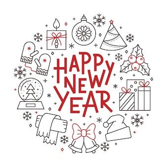 Szczęśliwego nowego roku karty, zimowe wakacje czerwony, czarna linia ikona napis transparent.