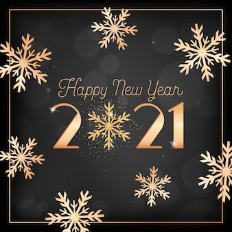 Szczęśliwego nowego roku karty złote płatki śniegu i brokat na czarnym niewyraźne tło ze złotą ramą i typografią 2021. elegancka pocztówka z życzeniami noworocznymi, ulotka z zaproszeniem lub projekt broszury promocyjnej