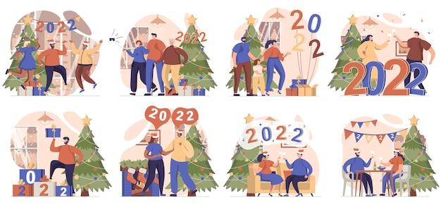 Szczęśliwego nowego roku kolekcja scen na białym tle ludzie świętujący 2022 bawiący się na świątecznej imprezie