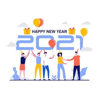 Szczęśliwego nowego roku koncepcja małych ludzi