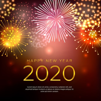 Szczęśliwego nowego roku koncepcja z fajerwerkami