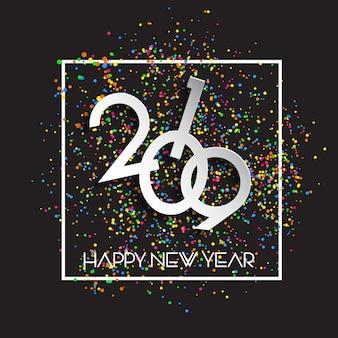 Szczęśliwego nowego roku konfetti tło