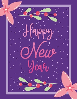 Szczęśliwego nowego roku, kwiaty celebracja jagody ostrokrzewu, kwiatowy wzór na kartkę z życzeniami