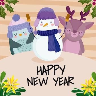 Szczęśliwego nowego roku ładny bałwan renifera pingwina i dekoracja kwiatów
