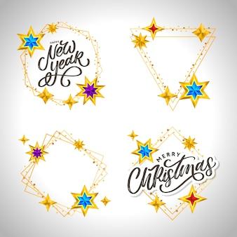 Szczęśliwego nowego roku. literowanie skład z gwiazdami i błyszczy.