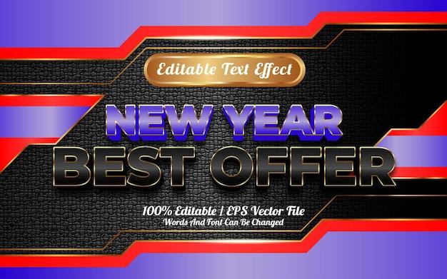 Szczęśliwego nowego roku najlepsza oferta edytowalnego stylu szablonu efektu tekstowego