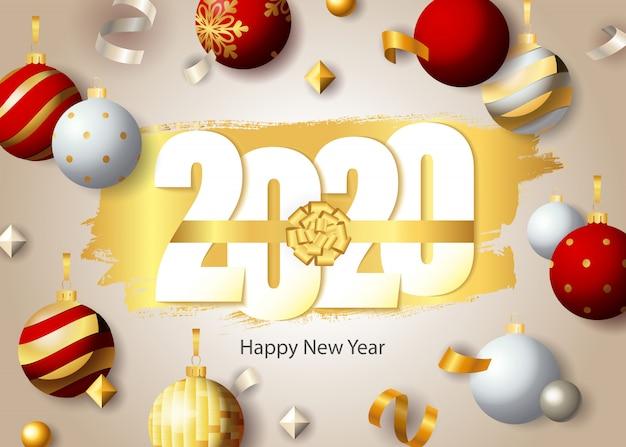 Szczęśliwego nowego roku, napis 2020 i świąteczne bombki