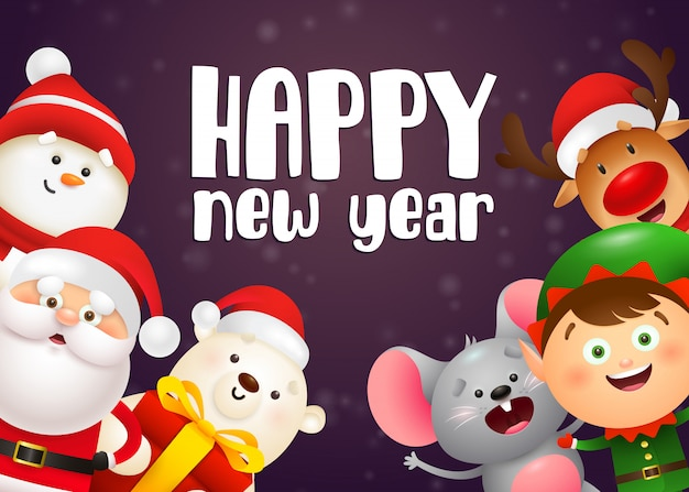 Szczęśliwego nowego roku napis, elf, niedźwiedź polarny, mysz, święty mikołaj