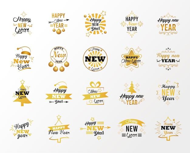 Szczęśliwego nowego roku napis karty z dwudziestoma ilustracjami napisów