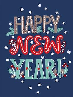 Szczęśliwego nowego roku napis na kartkę z życzeniami
