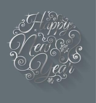 Szczęśliwego nowego roku napis pozdrowienie projekt okręgu
