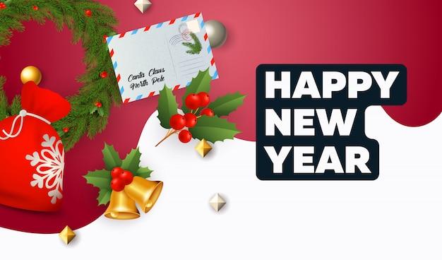 Szczęśliwego nowego roku napis, worek prezentów, koperta, dzwonki, jemioła