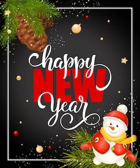 Szczęśliwego nowego roku napis z bałwana