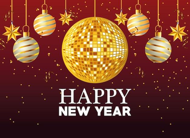 Szczęśliwego nowego roku napis z lustrami kulkami disco ilustracja