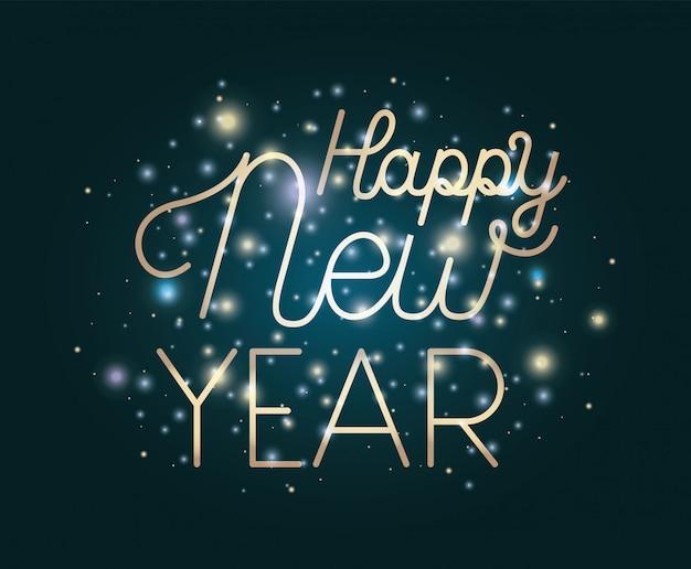 Szczęśliwego nowego roku napis ze światłami