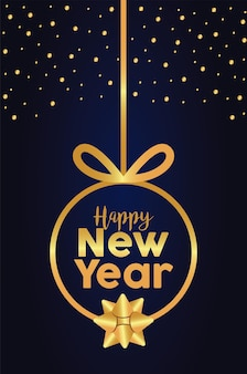 Szczęśliwego nowego roku napis złotej karty z wiszącą złotą piłkę ilustracją