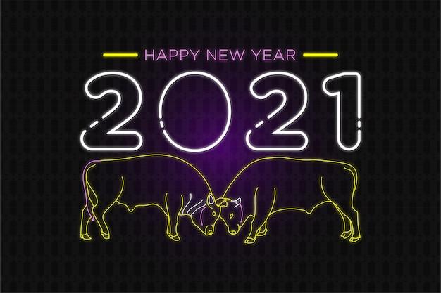 Szczęśliwego nowego roku neon tekst z tłem postaci krowy
