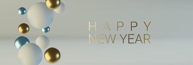 Szczęśliwego nowego roku. niebiesko-białe kule kulek
