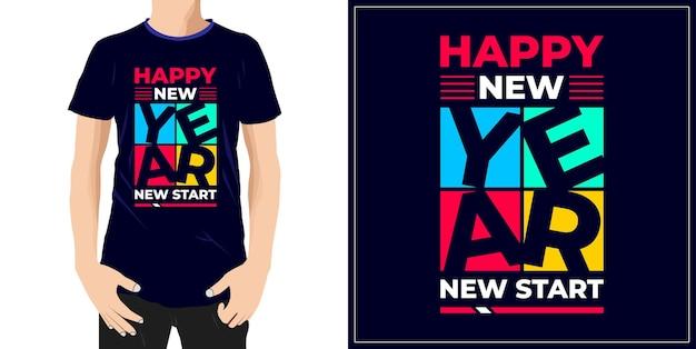 Szczęśliwego nowego roku nowy początek elegancki projekt gotowy na etykietę kubek tshirt lub druk premium wektor