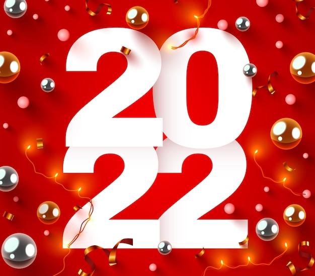 Szczęśliwego nowego roku numery świąteczne z konfetti i girlandą świąteczny plakat lub projekt banera