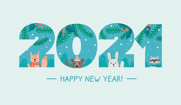 Szczęśliwego nowego roku numery tło ze zwierzętami leśnymi