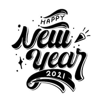 Szczęśliwego nowego roku odręczny napis
