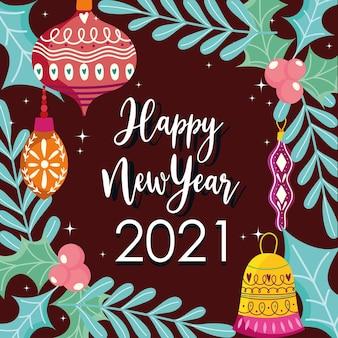 Szczęśliwego nowego roku ozdobne kule i ostrokrzew dekoracja