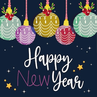 Szczęśliwego nowego roku ozdobne wiszące kule z holly berry i napisem