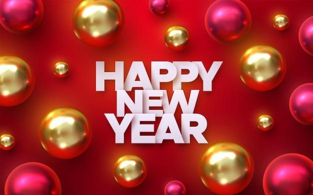 Szczęśliwego nowego roku papierowy znak z czerwonymi i złotymi bombkami lub bombkami