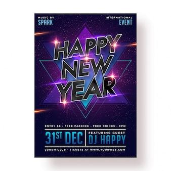 Szczęśliwego nowego roku party plakat, baner lub projekt ulotki.