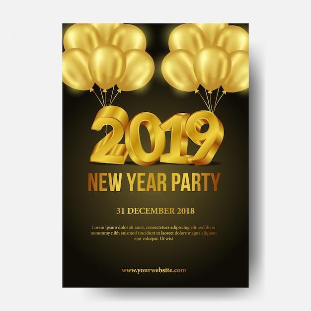 Szczęśliwego nowego roku party plakat szablon
