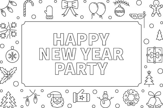 Szczęśliwego nowego roku party wektor zarys poziomy rama