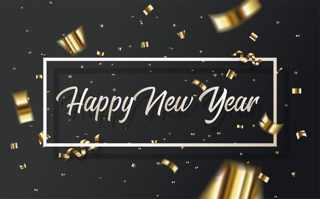 Szczęśliwego nowego roku, pisanie białym pismem wewnątrz złotego prostokąta