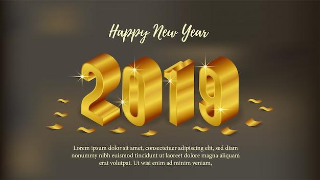 Szczęśliwego nowego roku plakat z 3d złoty izometryczny