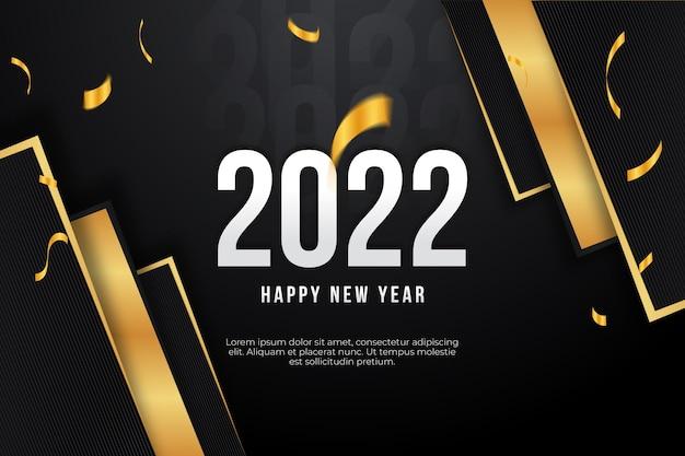 Szczęśliwego nowego roku plakat z czarnym złotym stylem backround