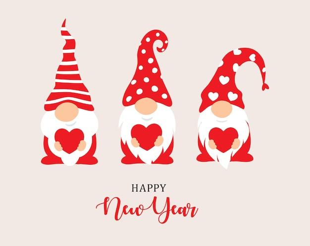Szczęśliwego nowego roku postacie projektują krasnale ogrodowe i czerwone serce w dłoniach świątecznych znaków dla
