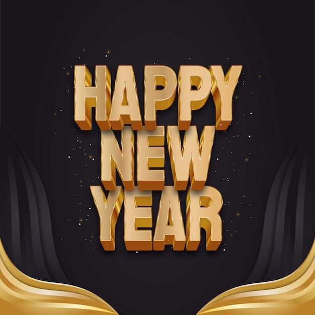 Szczęśliwego nowego roku powitanie banner lub plakat z 3d złoty tekst na czarnym i złotym tle