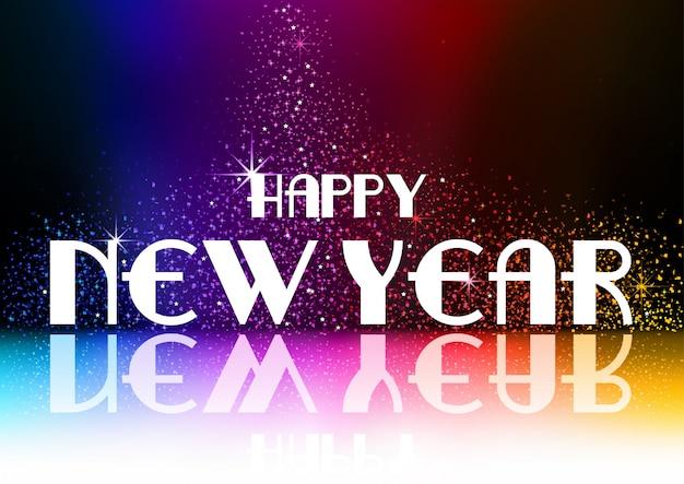 Szczęśliwego nowego roku powitanie z falling glitters