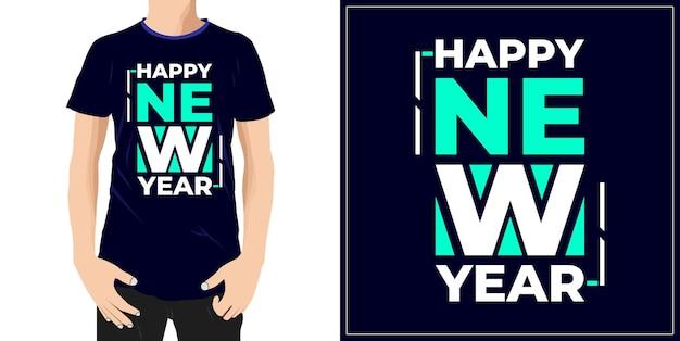Szczęśliwego nowego roku projekt gotowy na etykietę kubek tshirt lub druk premium wektor