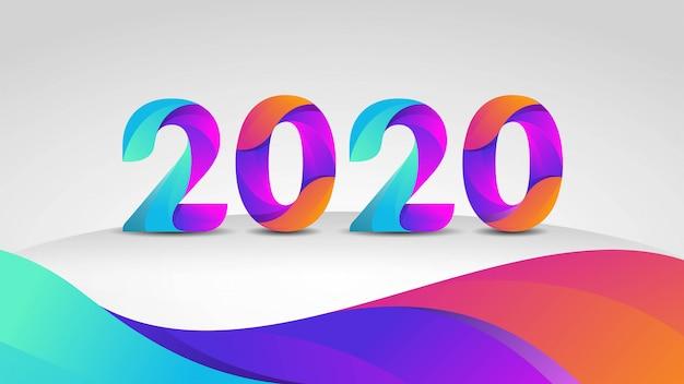 Szczęśliwego nowego roku projekt karty z pozdrowieniami do 2020 roku