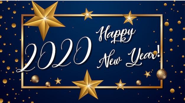 Szczęśliwego nowego roku projekt tła z gwiazdami